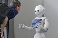 Softbank Pepper robot in automation fair royalty free stock photos