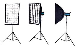 Softbox mounted on studio flash. Isolated Royalty Free Stock Photography