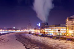 Soften edge view of frozen Moscow river near five star hotel in Christmas Royalty Free Stock Photos