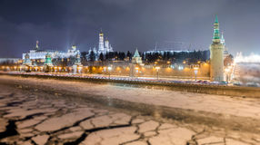 Soften edge view of frozen Moscow river near Kremlin and Read Square in Christmas Stock Images