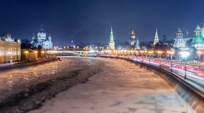 Soften edge view of frozen Moscow river near Kremlin and Read Square in Christmas Stock Image