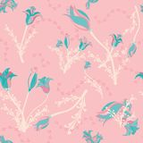 Flowers in teal on pink royalty free illustration