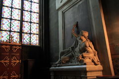 Softly lit area over religious statues, Notre Dame Cathedral,Paris,2016. Beautiful scene of softly lit area over religious statues in corner of room, Notre Dame Stock Photography