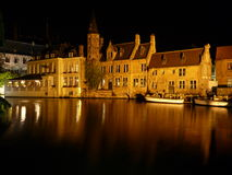 Softly Lit Bruges Canal Stock Photo