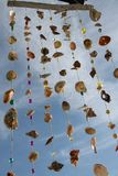 Softly and tenderly tinkling homemade wind chime. Softly and tenderly tinkling hommade chime from seashells, driftwood, colourful small balls  with a blue sky Royalty Free Stock Photo
