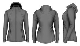 Softshell hooded jacket for lady. Fully editable handmade mesh. Vector illustration Royalty Free Stock Photography