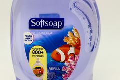 SoftSoap Liquid Hand Soap and Trademark Logo. ST. PAUL, MN/USA - FEBRUARY 17, 2019: SoftSoap liquid hand soap container and trademark logo. Softsoap is the trade royalty free stock photo