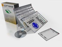 Software. Packaging with screenshots represented as objects Royalty Free Stock Images
