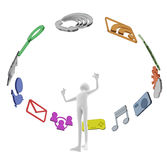 Software. People working with the application. Touch your finger to launch it. E-mail communication tools and social networks. Entertainment such as games or Royalty Free Stock Photography