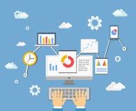 Software app developer concept. Software app developer or statistics analyst technology concept, vector eps10 illustration Stock Photo