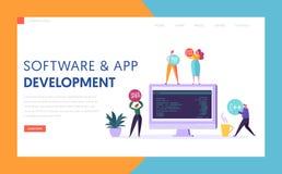 Software App Development Technology Agency Landing Page. Monitor on Office Desk Professional Teamwork Mobile Application. Software App Development Technology vector illustration