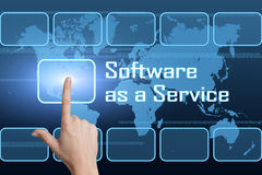 Software as a Service. Concept with interface and world map on blue background Royalty Free Stock Photos