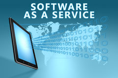 Software as a Service. Illustration with tablet computer on blue background Royalty Free Stock Photography