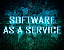 Software as a Service. Text concept on green digital world map background Royalty Free Stock Image