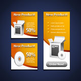 Software Banners With Open White Box. 3 Software Banners With Open White Box And CD Disk Yellow Orange: Products Purchase Button Royalty Free Stock Photography
