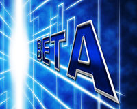 Software Beta Indicates Online Program And Programming. Beta Software Showing Programs Develop And Demo Stock Photography