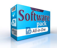 Software blue pack concept on white background Royalty Free Stock Photography