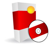 Software box. Red software box and cd vector illustration