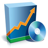 Software box and CD. Blue blank 3d box with a graph and CD Stock Image