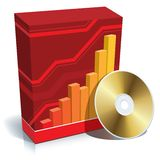 Software box and CD. Red blank 3d box with a graph and CD Stock Photo