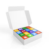 Software box. 3d render of white software box concept Stock Photos