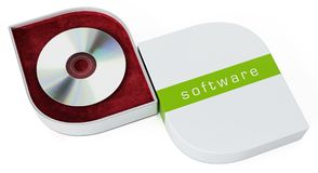 Software box with open cover isolated on white background. 3D illustration Royalty Free Stock Photo