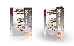 Software boxes. Three-dimensional rendering of two boxes for shipping and distribution of software packages Stock Photo