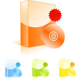 Software boxes with CD disk and sale badges Stock Photo