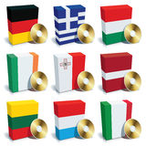 Software boxes, Set 2. Software boxes with colors of national flags. Europe set 2 Royalty Free Stock Photography