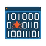 Software bug error virus in program binary code abstract icon. Royalty Free Illustration