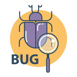 Software bug searching icon. Program error concept. Stock Image