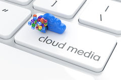 Software cloud media concept. Colorful icons box with blue stora. Ge cloud on the white computer keyboard. 3d rendering Royalty Free Stock Photos