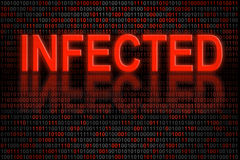 Software code infected by a virus vector illustration