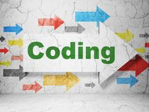 Software concept: arrow with Coding on grunge wall background Royalty Free Stock Image