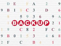 Software concept: Backup on wall background. Software concept: Painted red text Backup on White Brick wall background with Hexadecimal Code Royalty Free Stock Photos