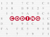 Software concept: Coding on wall background. Software concept: Painted red text Coding on White Brick wall background with Hexadecimal Code royalty free illustration