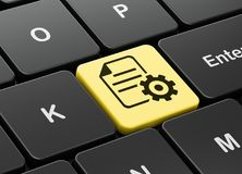 Software concept: Gear on computer keyboard background. Software concept: computer keyboard with Gear icon on enter button background, 3D rendering Royalty Free Stock Images