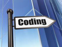 Software concept: sign Coding on Building background. 3D rendering Royalty Free Stock Photo