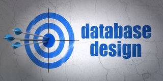 Software concept: target and Database Design on wall background. Success Software concept: arrows hitting the center of target, Blue Database Design on wall Royalty Free Stock Image