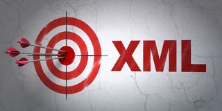 Software concept: target and Xml on wall background. Success Software concept: arrows hitting the center of target, Red Xml on wall background, 3D rendering Stock Photo
