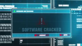 13. Software Cracked Warning Notification on Digital Security Alert on Screen. stock illustration