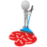 Software debugging. Concept, little 3d man wiping or mopping up software bugs spilled on the floor stock illustration