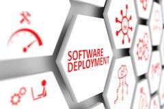Software deployment concept. Cell blurred background 3d illustration Stock Image