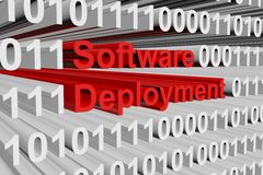 Software deployment. In the form of binary code, 3D illustration Royalty Free Stock Photography
