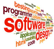 Software design concept in tag cloud Stock Photos