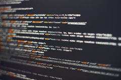 Software developer programming code. Abstract computer script code. Selective focus Stock Images