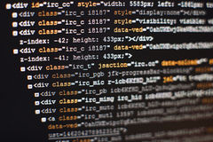 Software developer programming code. Abstract computer script code. Selective focus Stock Photo