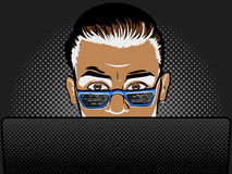 Software developer at work comic book style vector Stock Photo