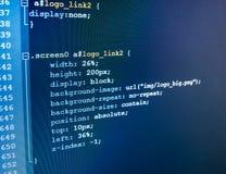 Software developer workspace screen. Programming code abstract screen software developer. Computer script Stock Photos