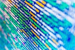 Software developer workspace screen. Programming code abstract screen software developer. Computer script vector illustration
